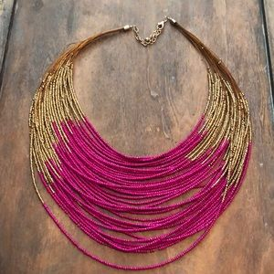 Gold and magenta necklace